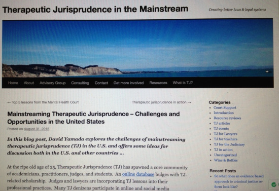 Guest blog post at https://mainstreamtj.wordpress.com/2015/08/31/mainstreaming-therapeutic-jurisprudence-challenges-and-opportunities-in-the-united-states/